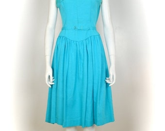 ON SALE 1950s dress: fit and flare / 50s dress bow / pin up dress / 1950s blue dress / 50s pin up dress vintage 50s dress  VTG 1950s dropped