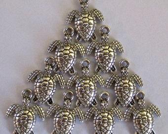 CLEARANCE  Sea Turtle, Hawaiian Honu, Antique Silver Finish 3 Dimensional Mini Charms Set of 10
