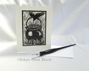 Raven and Cauldron Single Card with Optional Mat