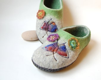 Butterfly art slippers, Emerald green and grey slippers, felt wool slippers, womens house slippers, gift for mom - to order