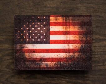 American Flag Wall Art Vintage Grunge Style