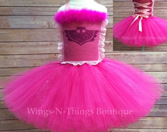 PINK OWL COSTUME Tutu Dress w/ lace up bodice top, owl, glitter logo, outfit, Girls, Toddler, Kids, Birthday, Party, Halloween