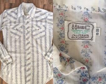 Mens vintage H bar C floral blue western 70's pearl snap shirt