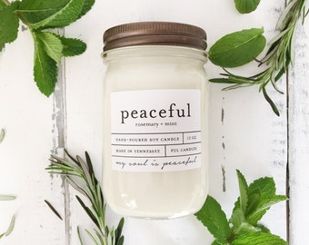 12 oz PEACEFUL (rosemary + mint) hand poured soy wax jar candle