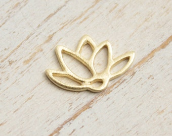 Gold Plated Sterling Silver Lotus Flower Charm  -- One Piece