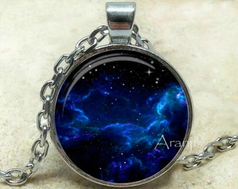 Midnight blue nebula art pendant, galaxy necklace, nebula necklace, galaxy pendant, space jewelry, astronomy, nebula, Pendant #SP126P