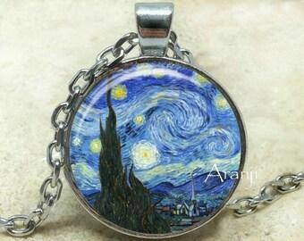 Vincent Van Gogh The Starry Night Photo Art Pendant, Starry Night necklace, Starry Night pendant, Van Gogh necklace, Van Gogh Pendant#AR145P