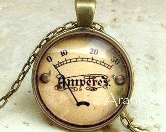 Vintage meter pendant, meter necklace, meter jewelry, vintage meter necklace, steampunk pendant, steampunk, Pendant#HG120BR
