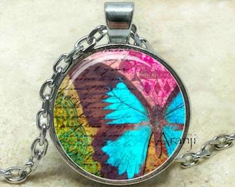 Blue butterfly art pendant, butterfly, butterfly pendant, butterfly jewelry, butterfly necklace, blue butterfly necklace, Pendant #AN159P