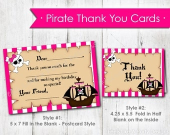 Pink Pirate Thank You Cards- Instant Download