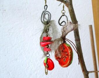 Asymmetrical earrings, earrings with ceramic clay, earrings with nacre, button earrings, silk earrings, mixed media earrings