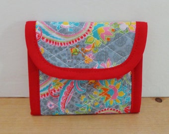 Light Grey Red Pink Blue Paisley Print Quilted Wallet