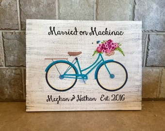 "Married on Mackinac, Custom Wood Sign with Bicycle  9.25"" x 12"""