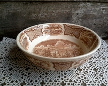 LARGE Serving Bowl, Alfred Meakin Fairwinds, English Brown Transferware, Serving Ironstone, Historical Scene, Manhattan, New York Dock