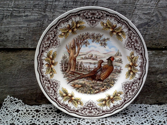 woodland pheasant turkey dinner plate victorian english. Black Bedroom Furniture Sets. Home Design Ideas