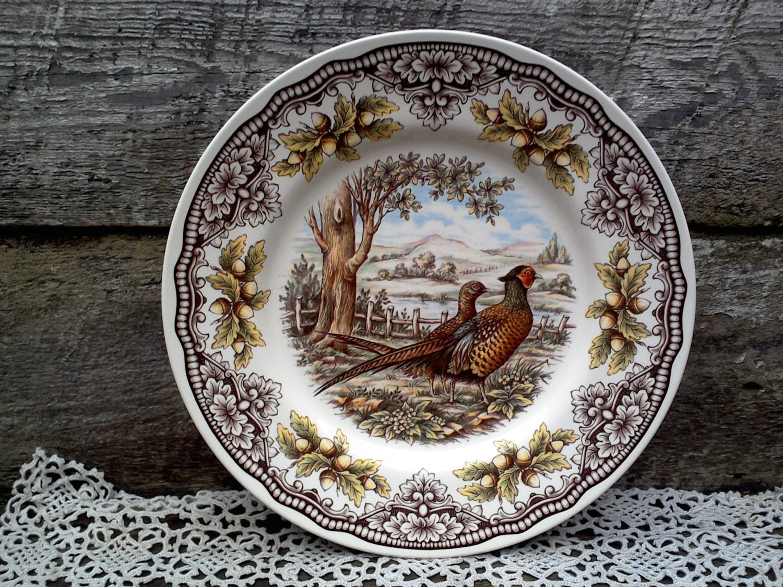 Woodland Pheasant Turkey Dinner Plate Victorian English
