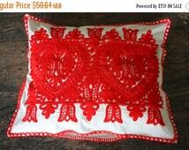 ON SALE Traditional embroidered pillow case red hearts and tulips motive handmade Transylvania  Kalotaszeg FOLK Art gift idea