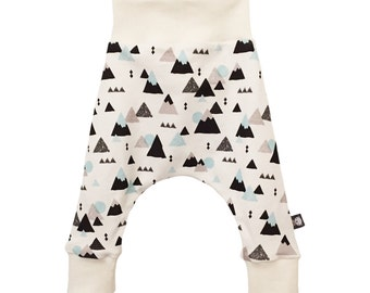 Harem Pants, baby relaxed trousers, MOUNTAINS, baby trousers, organic baby trousers - A Modern Baby Gift Idea by BellaOski