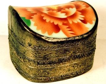 Ring Box Brass Oriental Keepsake Box Vintage Stash Jewelry Box