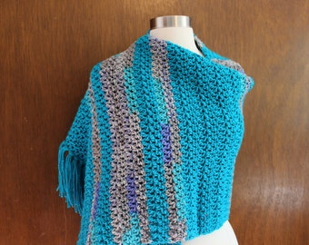 Crocheted Shawl - Turquoise