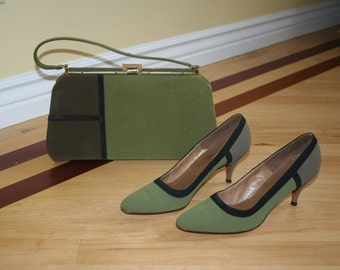 Gorgeous Mod 60s Shoes and Purse Set Olive and Black, Parimode and Mar-Shel