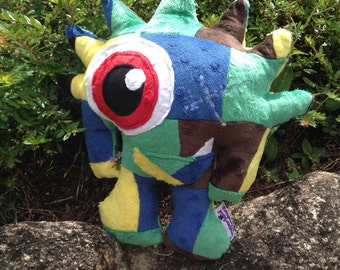 OOAK Handmade Soft Minky Patchwork Blue & Purple Pirate One-eyed Monster Plush Baby Toddler Softie Toy Gift