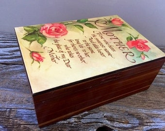 Vintage Cedar Wood Box Treasure Trinket, For Mother, Mothers Day Gift