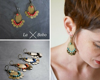 Medals, medallions and beads earrings