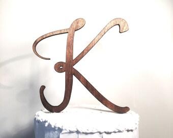 Wooden Wedding Cake Topper: Letter K, Monogram Cake Topper, Rustic Cake Topper, Handmade Cake Topper