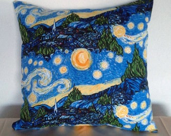 LIMITED EDITION Starry Night Fabric, Van Gohn 16x16 Pillow Cover, Handmade, Cotton, envelope closure