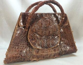 Vintage 1940's Alligator Hand Bag