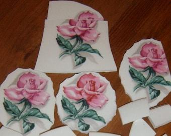 Broken China,   Focal, Mosaic Supplies, Roses, Hand Cut, Mosaic Pieces, Pink Roses, Rose China