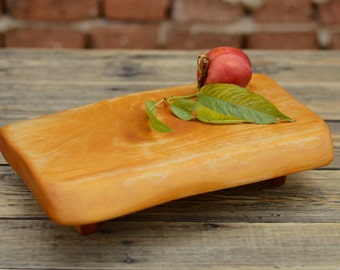 Live Edge Vegan Serving Platter, Cute Footed Cutting Board, Kitchen Board, Chopping, Carving, Men Gift, Birthday Gift, Salvaged Wood, Gift