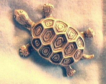 Large Tortoise, Brooch, Handmade, Lead Free Pewter, Gold Plate