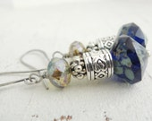 Rustic Cobalt Blue Earrings Blue Glass Dangles Blue Green Picasso Glass Drops Silver Earrings Bohemian Boho Style Cobalt Glass Dangles