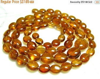 "BIG SALE Spessartite Smooth Oval Nuggets- 14"" Strand -Stones measure- 4-7mm"