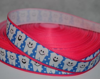 """Tooth Fairy Dentist 7//8"""" Grosgrain Ribbon for Hair Bows, Kids Crafts, Scrapbooks, Cards Making, Gift Wrapping"""