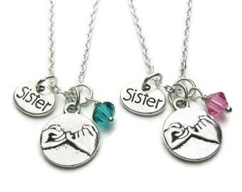 2 Pinky Promise Swarovski Birthstone Sisters Necklaces, 2 Sisters Necklaces, Sisters Jewelry, Pinky Promise Necklace, Sisters Necklaces