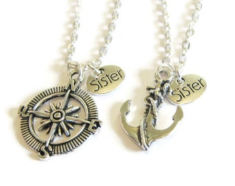2 Anchor And Compass Sisters Bff Necklaces