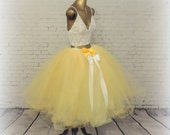 Adult Belle skirt yellow tea length tutu,maide of honor tutu bridesmaid tutu wedding bridal tulle skirt, prom tutu skirt photo prop