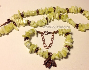Peridot Jasper necklace and bracelet set