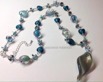 Stunning Blue Lampwork Beaded Necklace.