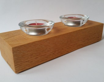 Double tea light holder, solid Oak, oak, with red tea light candles, wood tea light holder, wooden tea light, valentines, valentines day