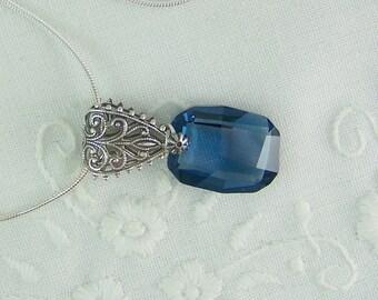 Denim Blue Crystal, Swarovski Crystal Pendant, Blue Crystal Pendant, Silver Filigree Necklace, Denim Blue Pendant, Graphic Crystal Pendant