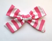 Big Hair Bows/One Size Fits All/Valentine's Day Bows/Pink Stripe Bows/Little Girl's Bows