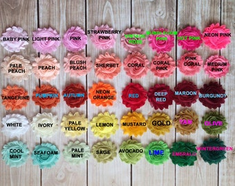 Pick any solid color shabby flower headbands or clips Baby Girl Headband - Everyday Headband- Toddler Headband - Toddler Clip
