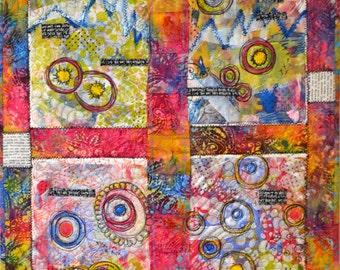 Graffiti Art Quilt - Art Quilt- Original Art Quilt - Fiber Art  - Mono Print Quilt - Pam George Quilts - One Of A Kind- Wall Art- Abstract