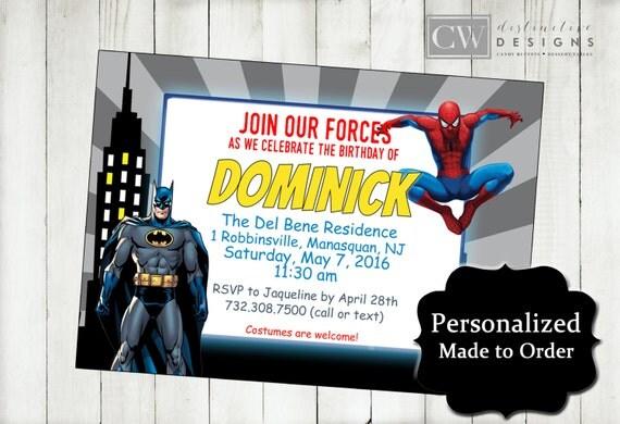 batman spiderman birthday invitations spiderman invitations, Party invitations