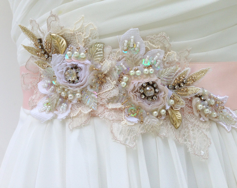Beaded Lace Bridal Sash Wedding Sash In Blush Pink With