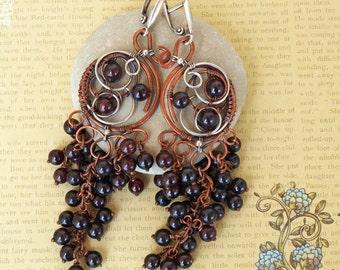 Garnet Earrings Copper Silver Earring Gemstones Jewelry - copper silver garnet wire wrap jewelry